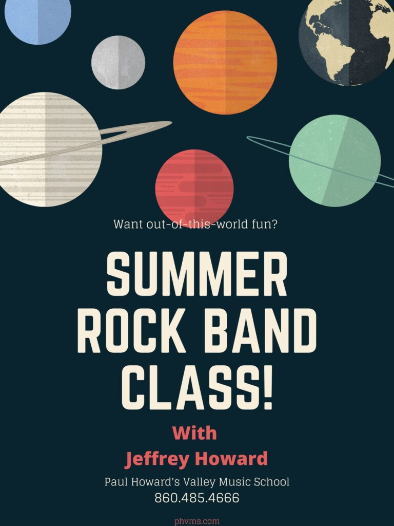 Summer rock band class with Jeffrey Howard at Paul Howards Valley Music School